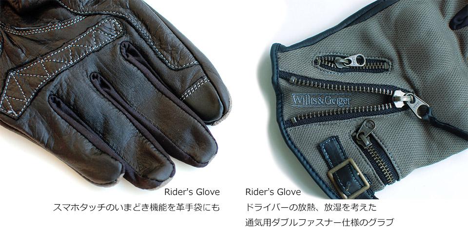 Rider's Glove スマホタッチのいまどき機能を革手袋にも。 ドライバーの放熱、放湿を考えた通気用ダブルファスナー仕様のグラブ。